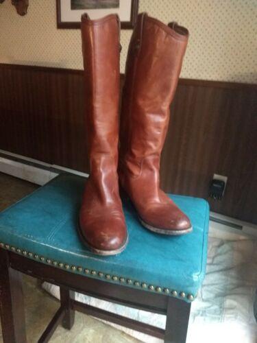 Frye Melissa Button Cognac Antiqued Leather Women'
