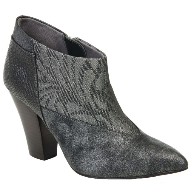be4e80b82 LADIES RUBY SHOO ERIKA PEWTER SIDE ZIP POINTED ANKLE BOOTS VEGAN FRIENDLY