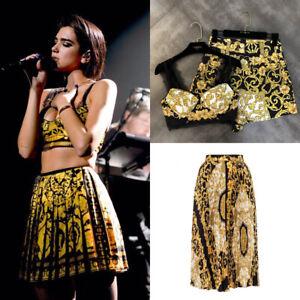 Dua-Lipa-Baroque-Retro-Print-Set-Midi-Skirt-Shorts-Bralette-Top-Satin-Pleat
