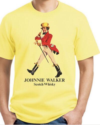 Johnny Walker Scotch T-shirt.Gray,Khaki,White,Yellow S-XXXL Free Ship to USA