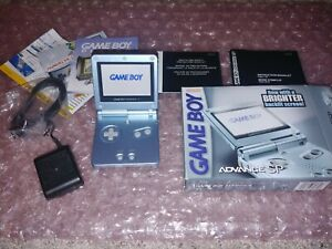 Nintendo-Gameboy-Advance-GBA-SP-AGS-101-Pearl-Blue-w-Charger-Box-amp-Manuals