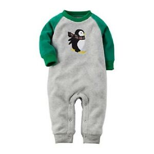 ebe9f9adf Carter s Gray Fleece Penguin One-Piece Jumpsuit Outfit Baby Boy 6 ...