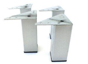 Image Is Loading 4x Tubular Square Metal Chrome Furniture Legs Feet