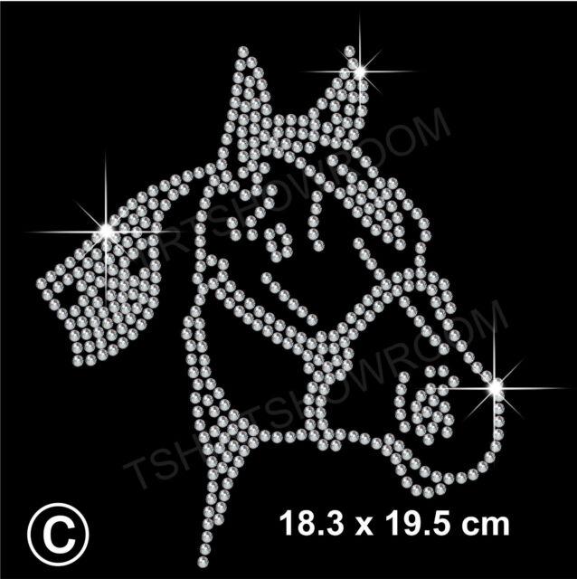 Horse Rhinestone/Diamante Transfer Hotfix Iron on Motif Appliqué in crystal Gift