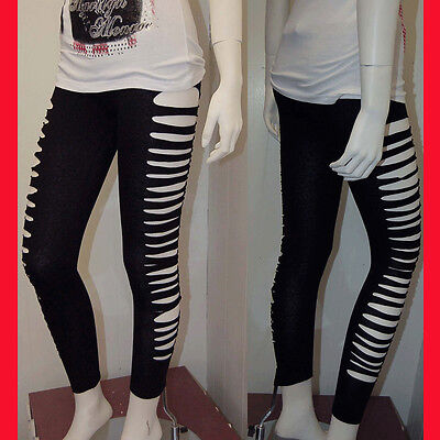 Sexy Punk Ripped Slit Cut-out Stretchy  Leggings Forever Style 3XL