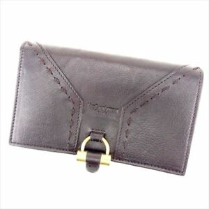 67683ff3e7c3 Saint Laurent Wallet Purse Bifold Brown Gold Woman Authentic Used ...