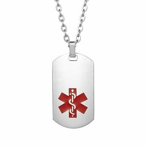 Free-Engraving-Stainless-Steel-Medical-Alert-ID-Dog-Tag-Chain-Necklace-Men-Women