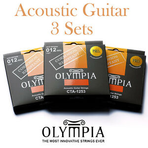 3 Sets  Packs Of Olympia 1253 Acoustic Guitar Strings  Corrosion Resistant - <span itemprop=availableAtOrFrom>Distribution Centre, UK, United Kingdom</span> - Full refund available within 14 days of purchase if item not as described. - Distribution Centre, UK, United Kingdom