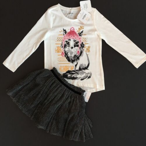 Gymboree Girls Sequin Fox Tee /& Tulle Skirt Set Outfit 4 5 6 NWT $61.90