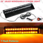 "20"" 18LED Car Emergency Hazard Warning Windshield Dash Strobe Light Amber Yellow"