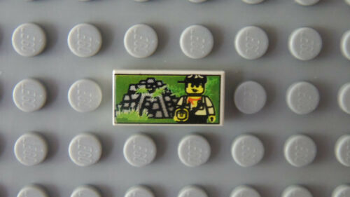 LEGO Tile 1 x 2 with Printed Minifig and Jungle Ruins Pattern 5986 5976 5936