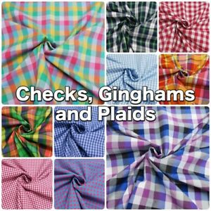 Cotton-and-Polycotton-Summer-Check-Plaid-Gingham-Shirt-Dressmaking-Fabric
