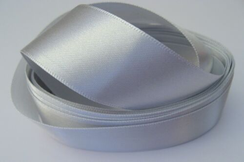 2 metres of 25mm wide SILVER colour Double Face Satin Ribbon SB10J