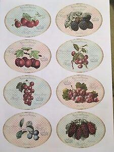 1 Din  A4 Bogen Früchte Nr.5 rund vintage shabby chic hell Transferfolie