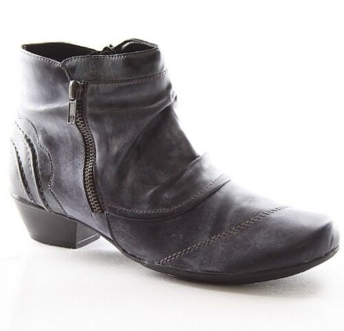 Remonte botines zapatos señora zapatos de piel forro cálido señora azul d7395-14