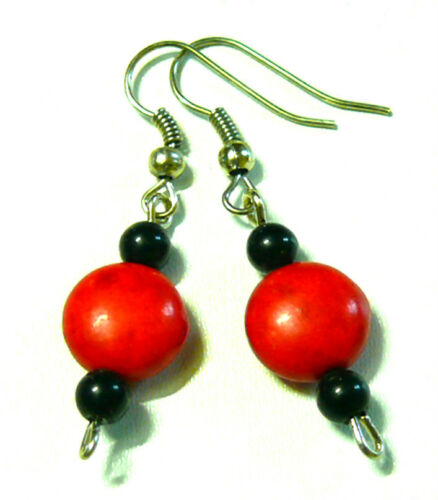 BOUCLES D/'OREILLES ETHNIQUE BIJOUX ROUGE PIERRE PERLE red earrings