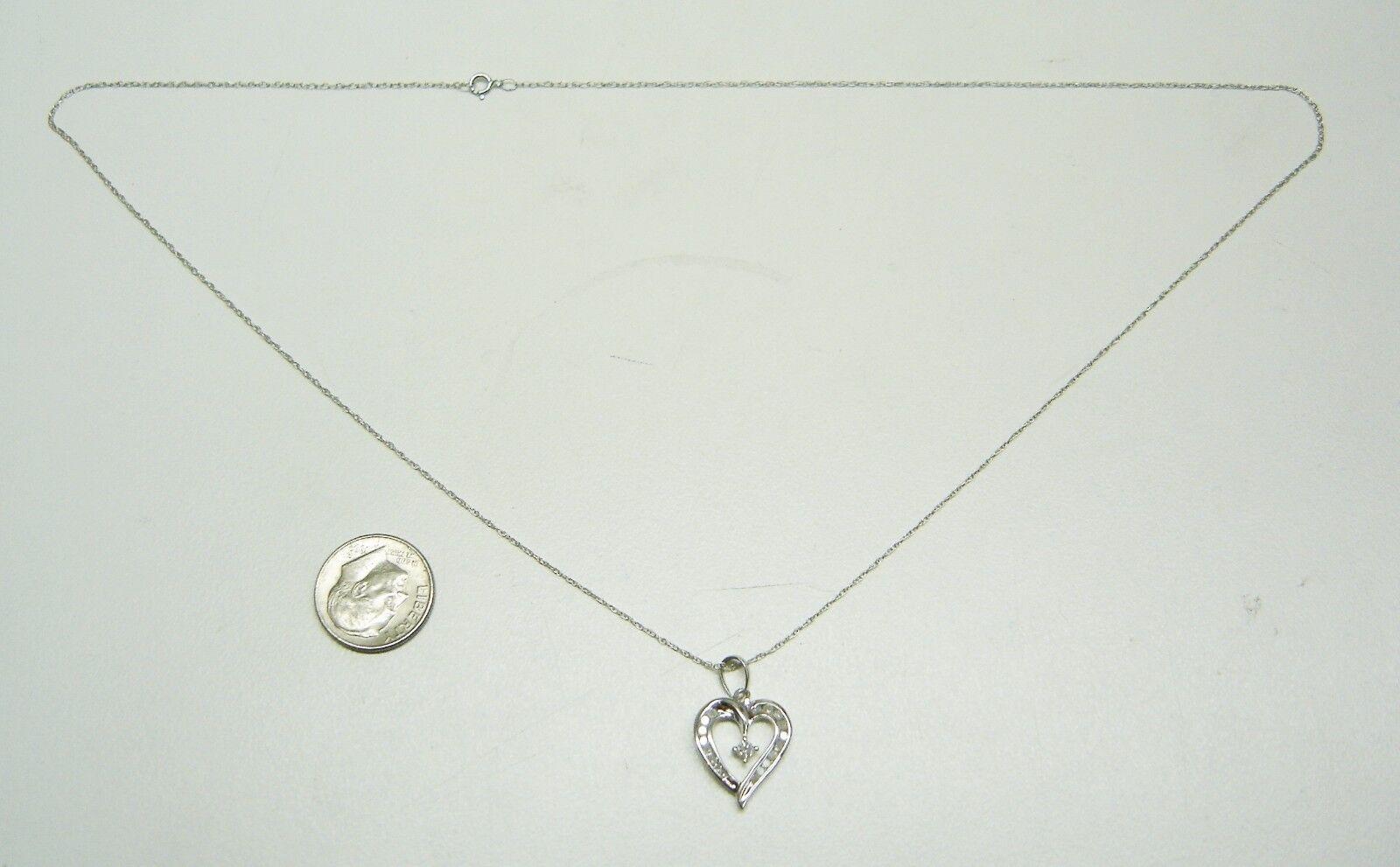 10k 10k 10k Bianco Cuore oro Collana Ciondolo Diamante con Catenina N607-r 2d2bd2