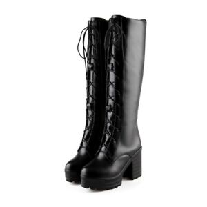 f38af6164da Details about Womens Chunky Block Heels Goth Lace Up Knee High Military  Riding Boots Round Toe
