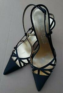 Anne-Klein-Papaya-Black-Satin-Slingback-Pointed-Toe-Pump-Heels-Sandals-9-M-40-UK