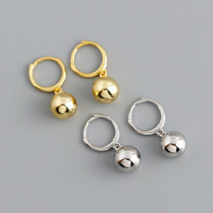 Creolen mit Kugel-Charm verschiedene Farben aus 925 Silber Damen Echtschmuck