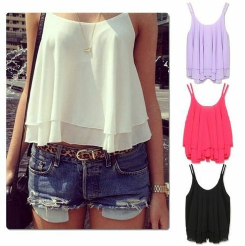 Sexy Women Casual Sleeveless Shirt Chiffon Loose Vest Tank Top Blouse Summer