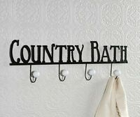 Primitive Farmhouse Chic Black Country Bath Word Sign Towel Rack Wall Hooks