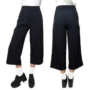 246196a626 Womens High Waisted Culottes Pleat Calf Length Wide Leg Loose Cargo ...