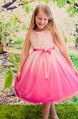 Fuchsia Ombre Flower Girls Dress Easter Graduation Pageant Party Wedding KD322