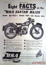 "1954 Motor Cycle ADVERT - B.S.A. Bantam Major ""8 Facts Road Test"" Print AD"