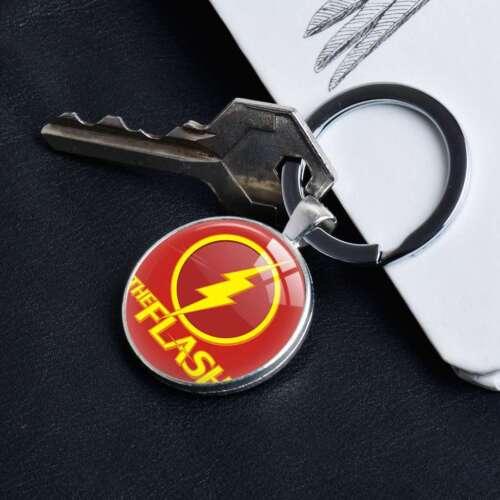 Comic Superhero The Flash Logo Silver Keychain Keyring Pendants Keychains Gifts