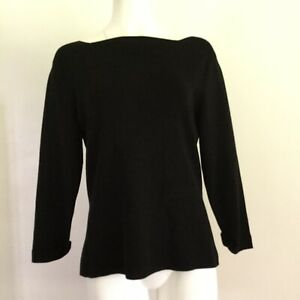 Coldwater-Creek-Womens-Top-L-Large-Solid-Black-Tee-Minimalist-Cotton-Stretch