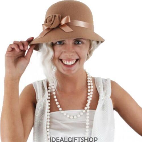 LADIES 1920/'S 30/'S FLOWERPOT HAT /& PEARL NECKLACE SET GATSBY FLAPPER FANCY DRESS