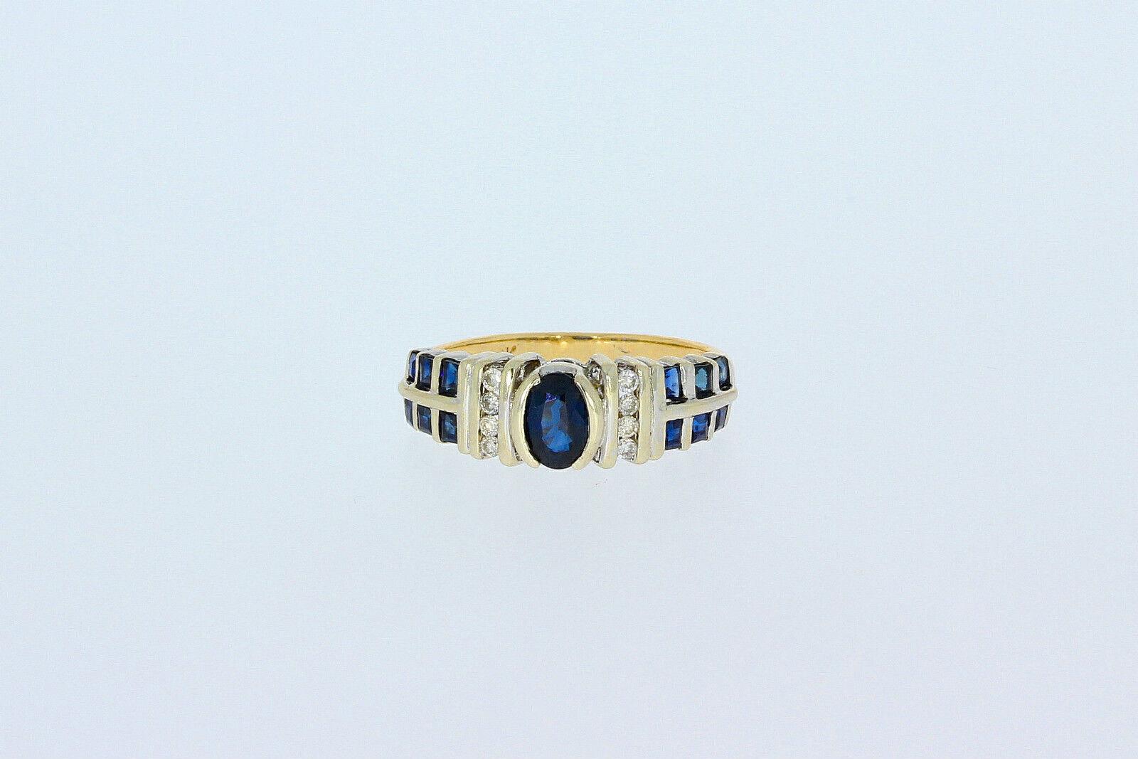 596-585er yellowgold Ring mit Brillianten+Saphir Ringgroße 54,5 Gewicht 3,4 gramm