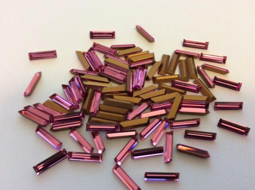 Baguette Diamantes de Imitación Rosa 10x3mm Paquete de 12 libre de correos de reparación de primera calidad