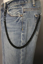 New Men Women Black Chunky Metal Wallet Short Chain KeyChain Biker Jeans Trucker