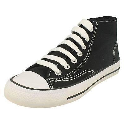 Señoras X0002 Negro Hi-Top Con Cordones Lona Zapatillas por Spot On - £ 6.99