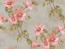Wallpaper Designer Floral Pink Hibiscus Trail Vine Green Leaves Metallic Taupe