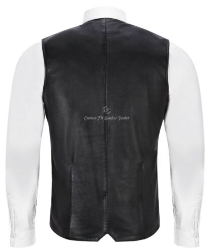Mens Jude Dapper Style Fine Real Leather Double Breasted Lapel Waistcoat 1642