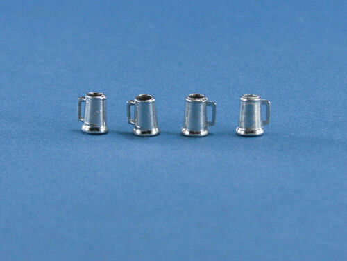 Set of 4 Dollhouse Miniature 1:12 Scale Metal Beer Tankards #D2302-04