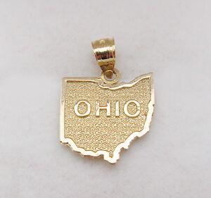 Mens womens 10k yellow gold ohio state map charm ohio state image is loading men 039 s women 039 s 10k yellow aloadofball Gallery