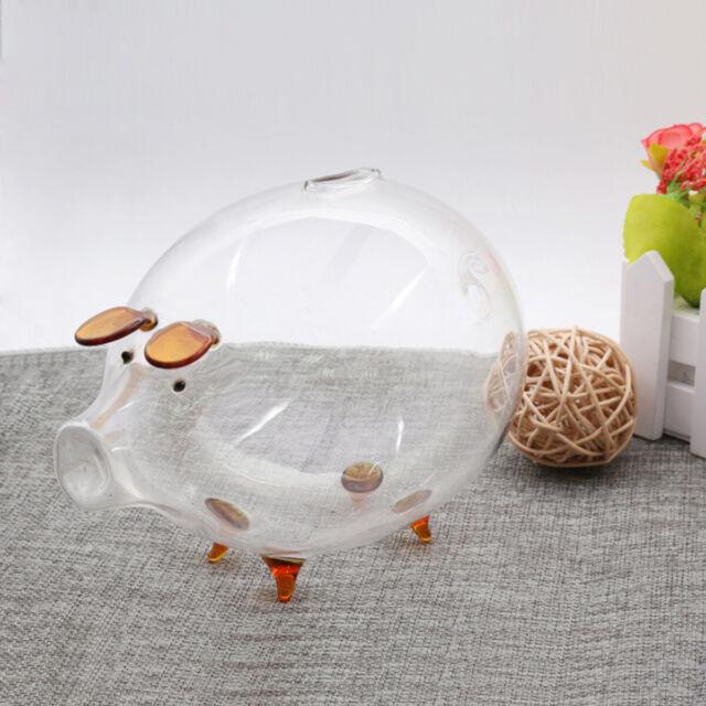 Clear Glass Piggy Bank Coin Money Cash Collectible Saving Box Jar Gift Pig