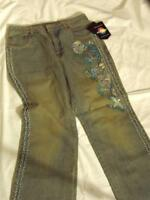 Newport News Jeaneology Embellished Beaded Distressed Jeans - Sz 10 -
