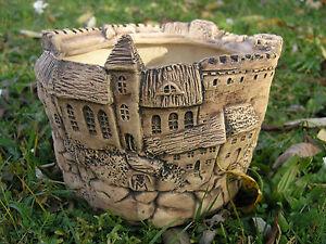 Ubertopf-Keramik-Blumentopf-Burg-Mittelalter-shabby-chic-Kueche-Esszimmer
