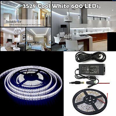5m SMD 3528 LED Strip Lights Kit 6000K White 12V Flexible LED Rope Power Supply