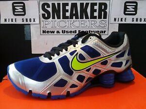 huge discount 8530e 8e4f1 Image is loading Nike-Shox-Turbo-12-Blue-Volt-Silver-Black-