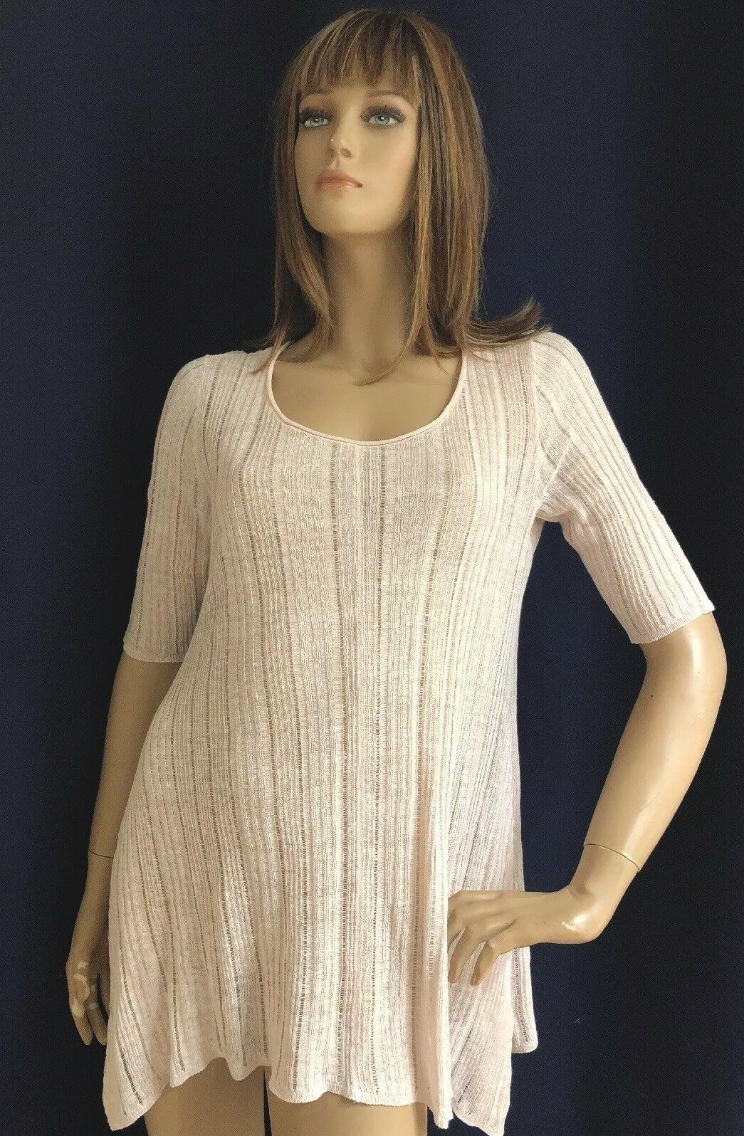 Eileen Fisher Medium Blaush Scoop Neck Tunic Elbow Sleeves Linen Silk NWT