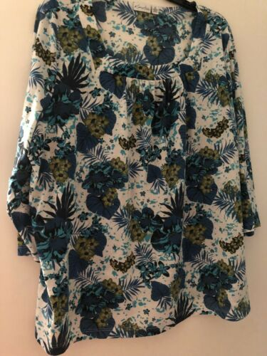 Kim Rogers 2x Blue Flowery Blouse