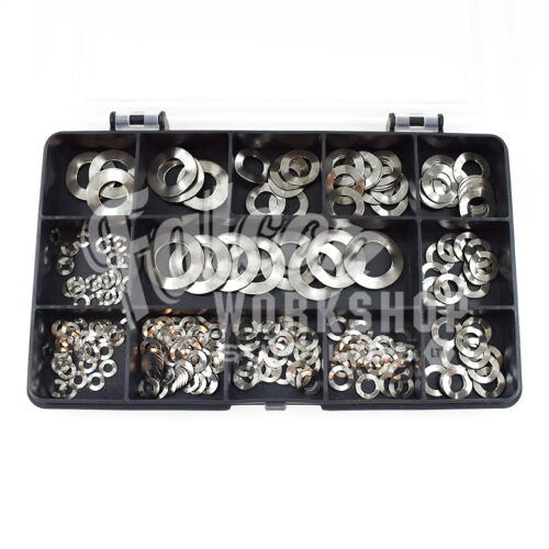 205 ASSORTED PIECE A2 STAINLESS STEEL CRINKLE WASHERS M3M4M5M6M8M10M12 WAVE KIT