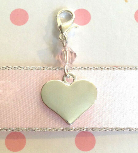 Personalised Engraved heart crystal bag charm clip on choose colour for mum gift
