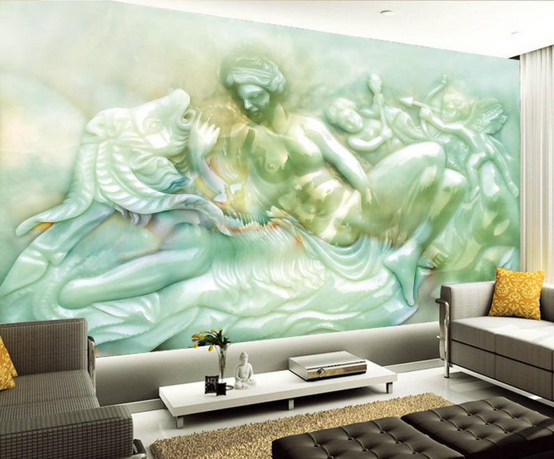 3D Angels Girl Fish 74 Wall Paper Murals Wall Print Wall Wallpaper Mural AU Kyra